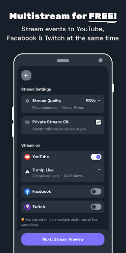 Turnip: Livestream, play games, talk with friends