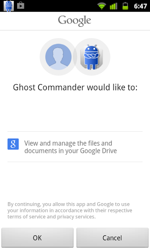 GhostCommander plugin: GDrive