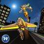 icon Flying Motorbike Robot Transform City Battle