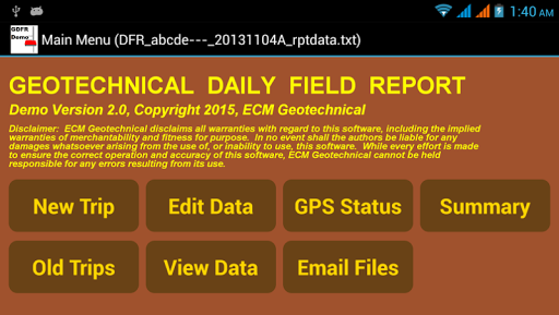 Geotechnical DFR Demo