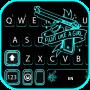 icon Neon Blue Gun Keyboard Background