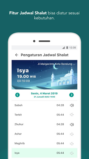 Schedule of Sholat Compass Qibla