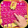 icon Pink Gold Glitter Keyboard Background