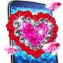 icon Diamond live wallpaper – glitter rose hearts